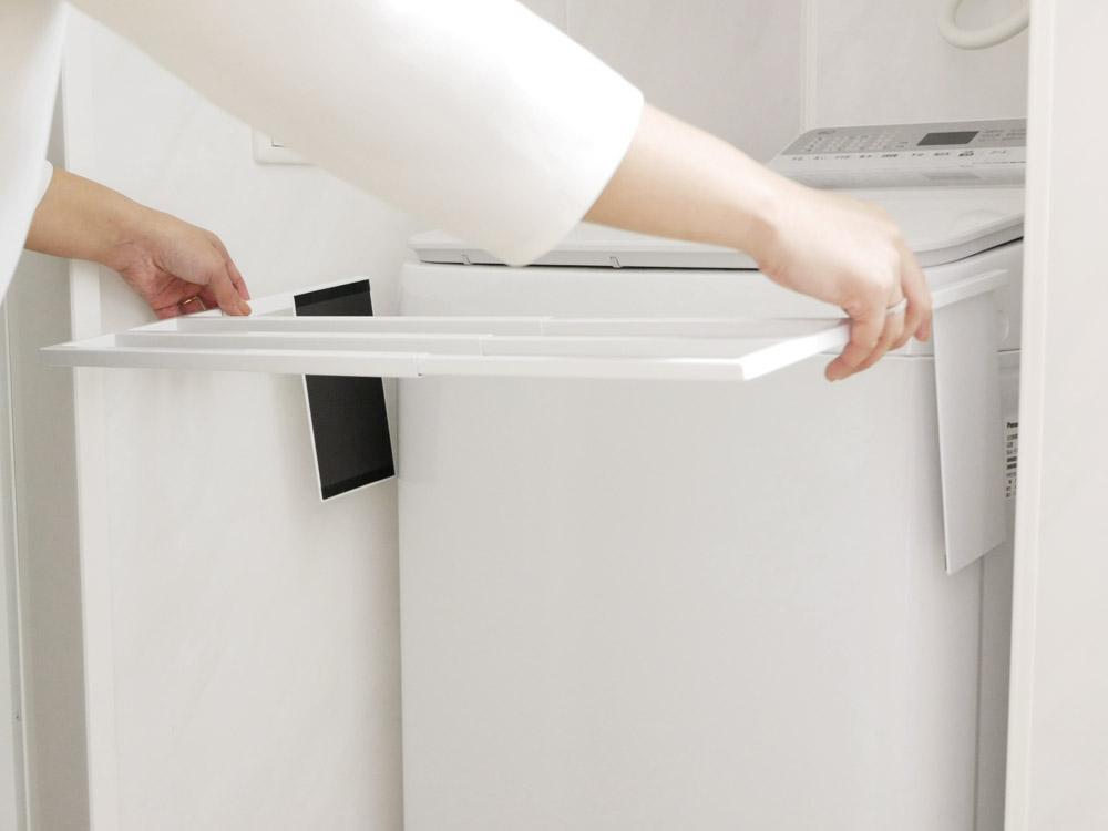 【tower】マグネット伸縮洗濯機バスタオルハンガー ホワイト