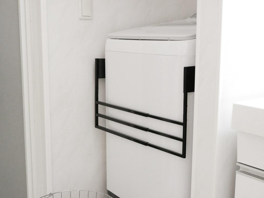 【tower】マグネット伸縮洗濯機バスタオルハンガー ブラック