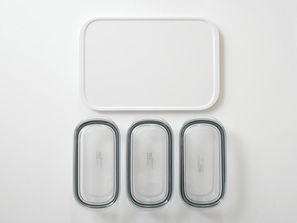 【like-it】調理ができる保存容器 Mサイズ3個+トレーLセット クリア