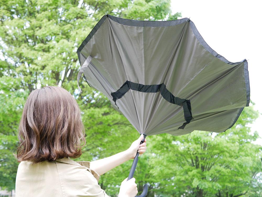 【EN FANCE】晴雨兼用 逆さに開く2重傘 circus グレー×ブラック