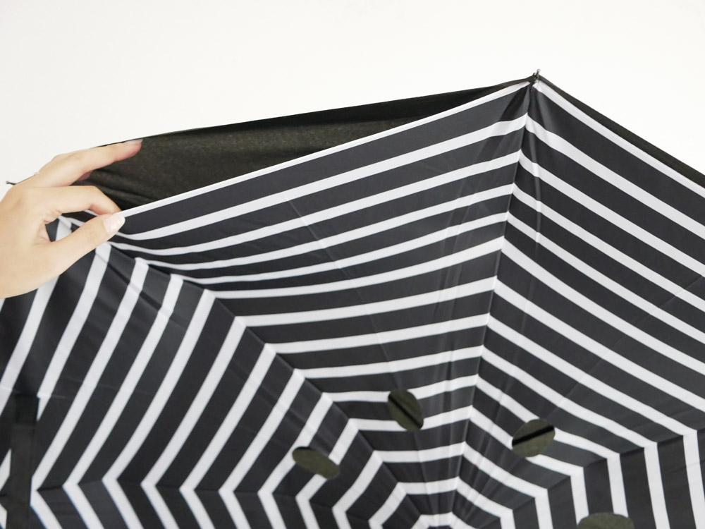 【EN FANCE】晴雨兼用 逆さに開く2重傘 circus ストライプ×ブラック
