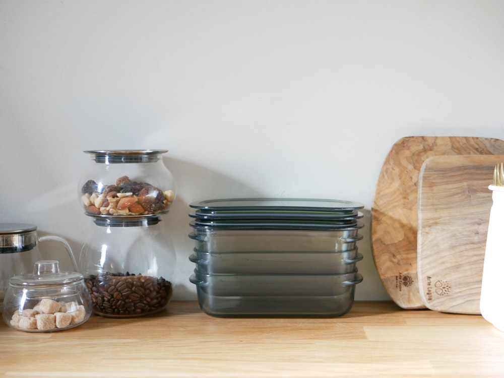 【like-it】調理ができる保存容器 Mサイズ3個+トレーLセット グリーン