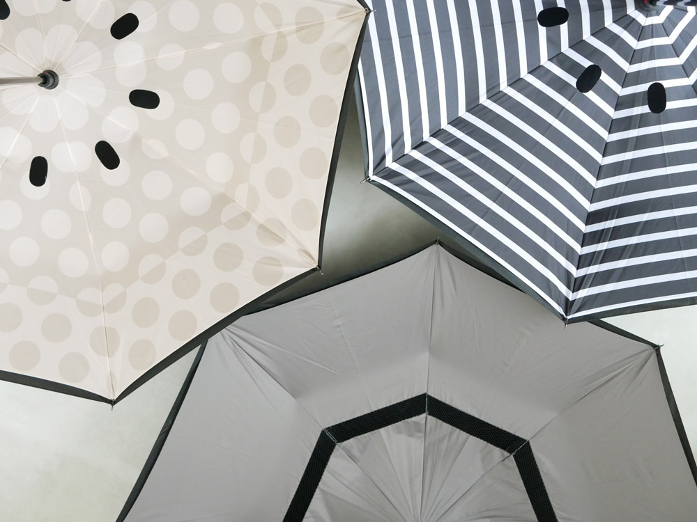 【EN FANCE】晴雨兼用 逆さに開く2重傘 circus Dot アーモンドベージュ×ブラック