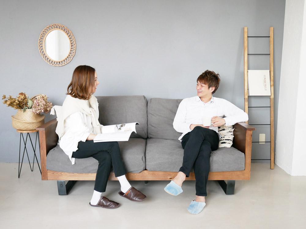 【adepeche】modage ソファ fabric/チャコールグレー【受注生産品・メーカー直送・代引き不可商品】