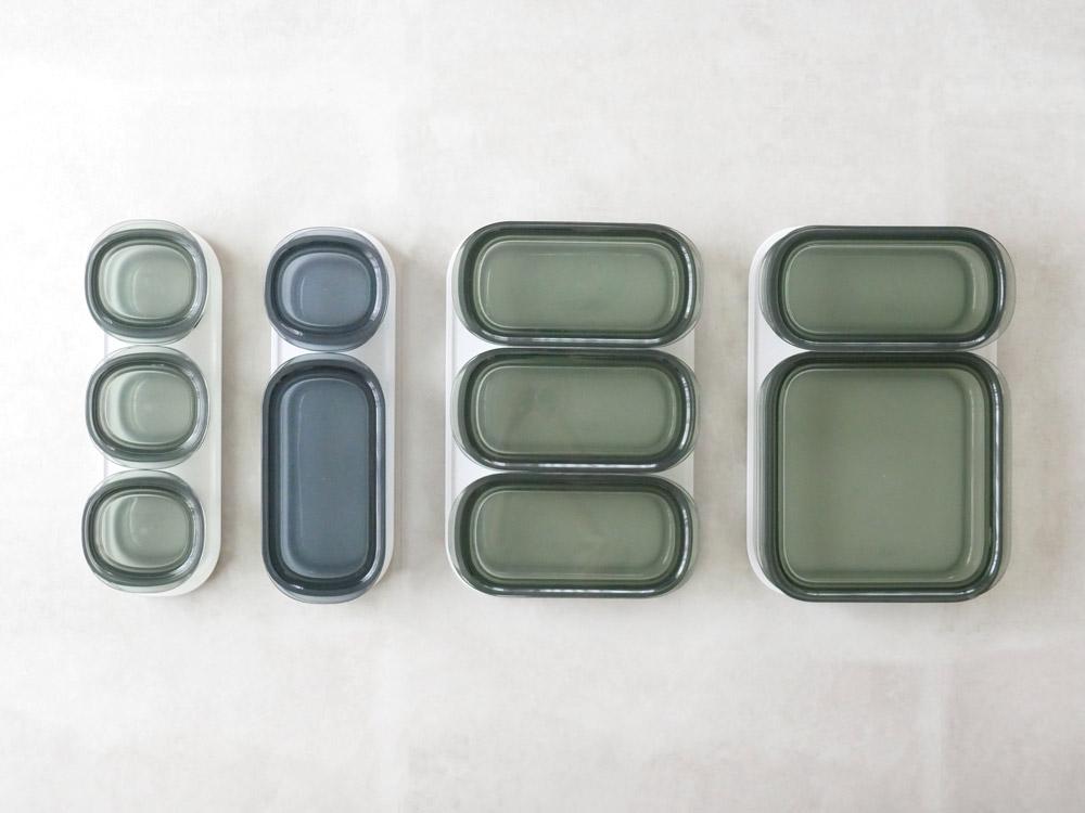 【like-it】調理ができる保存容器 Mサイズ1個+Lサイズ1個+トレーLセット グリーン