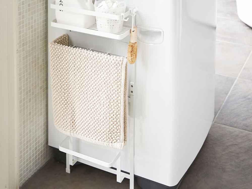 【tower】洗濯機横マグネット収納ラック ホワイト