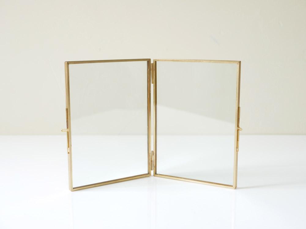 【予約販売5月下旬入荷予定】【POSH LIVING】 ガラスフレーム  スタンドダブル  ゴールド