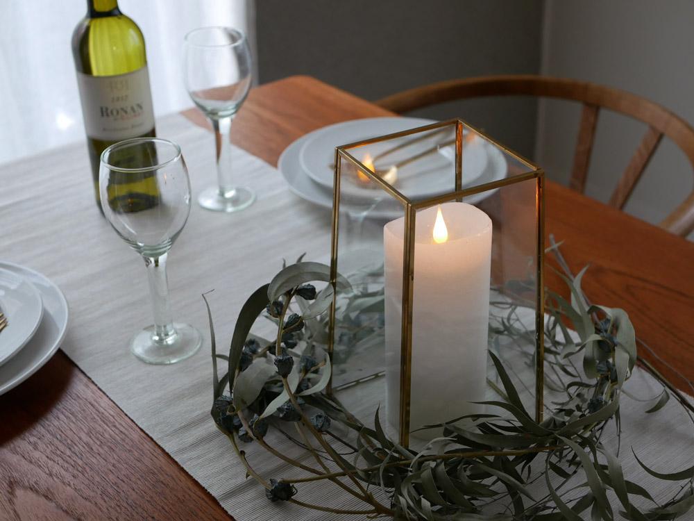 【カメヤマキャンドル】3D LEDキャンドル ENKINDDLE ラスティクピラー 3×7 ホワイト