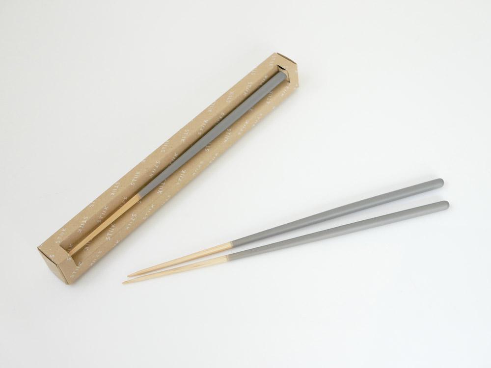 【STIIK】カトラリーのような箸(2膳入)ミディアムグレー