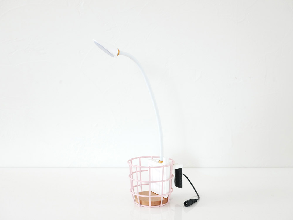 【Another Garden】USB ワイヤーバスケットライト ピンク