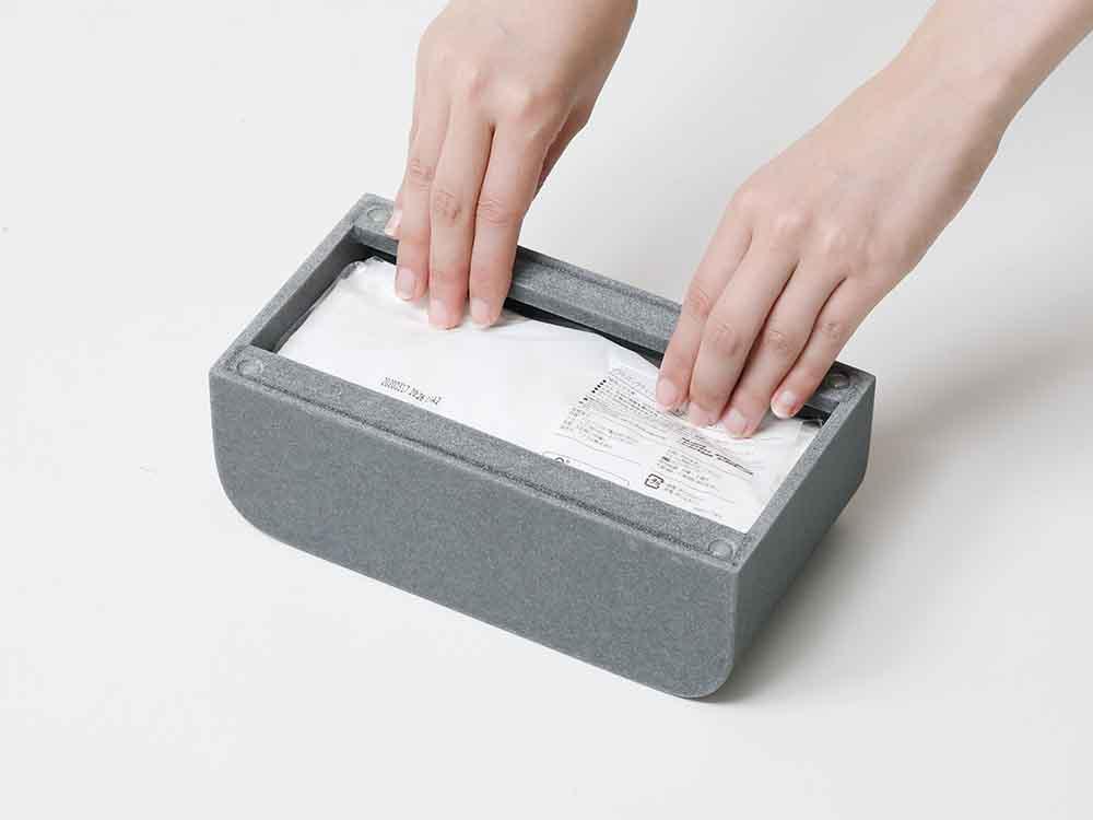 【ideaco】Tissue Case SP ストーンサンドブラック
