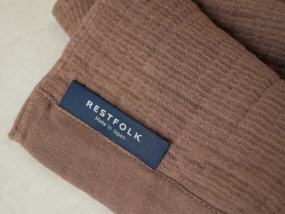【REST FOLK】FACEタオル ガーゼ/パイル ブラウン