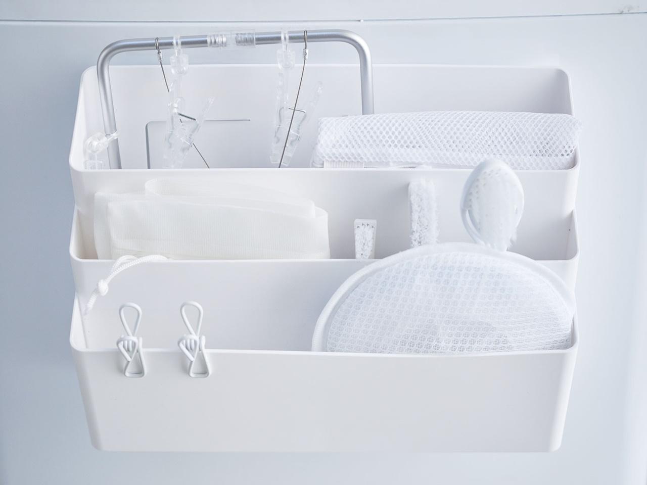 【tower】洗濯機横マグネット収納ポケット 3段 ホワイト