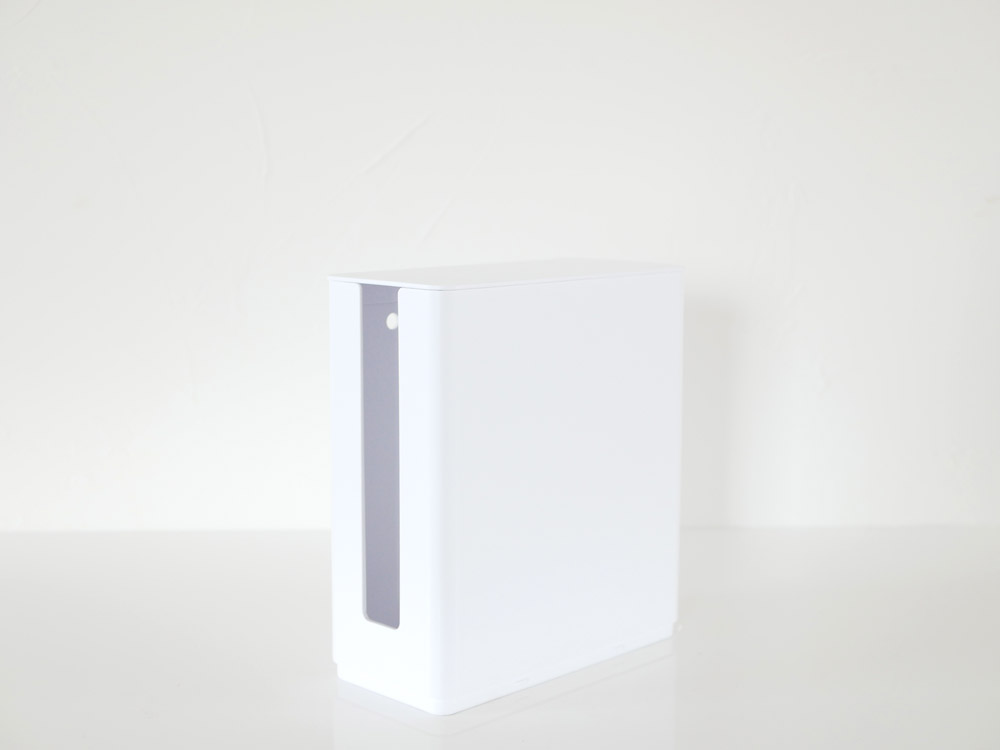 【smart】重ねられるスリム蓋付きルーター収納ケース ホワイト