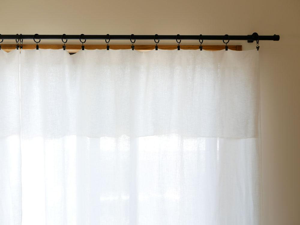 【natsusobiku】リネンのクリップ留めカーテン S W130×H165cm  1枚 ホワイト