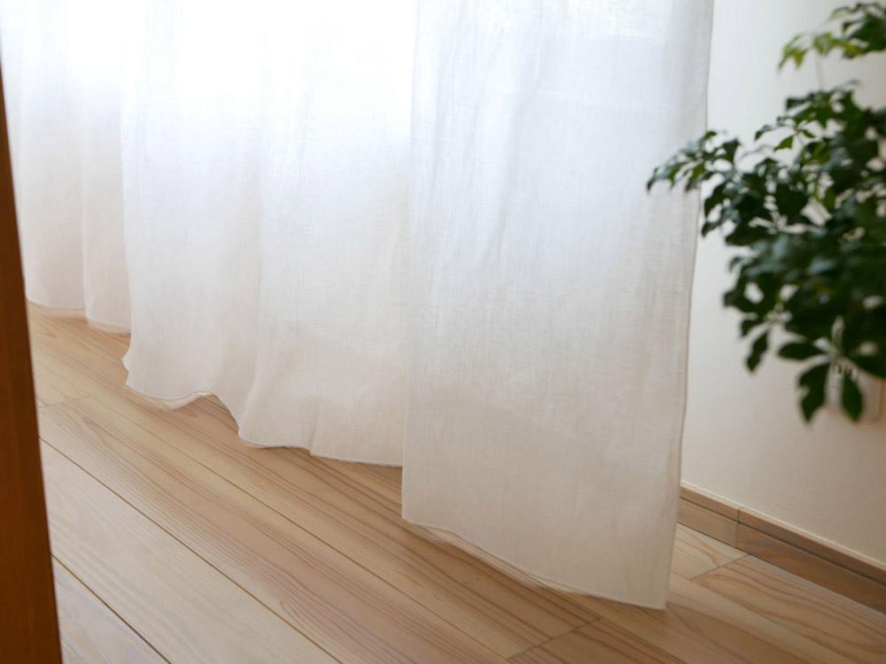 【natsusobiku】リネンのクリップ留めカーテン L W130×H230cm  1枚 ホワイト