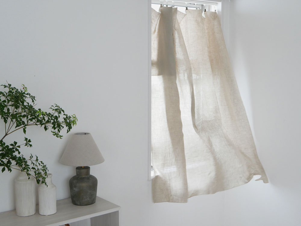 【natsusobiku】リネンのクリップ留めカーテン S W130×H165cm  1枚 ベージュ