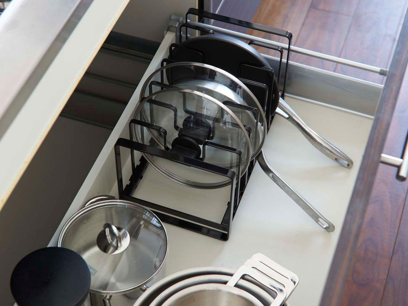 【tower】フライパン&鍋蓋スタンド ブラック