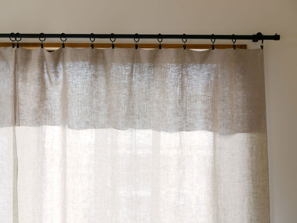【natsusobiku】リネンのクリップ留めカーテン L W130×H230cm 1枚 ベージュ