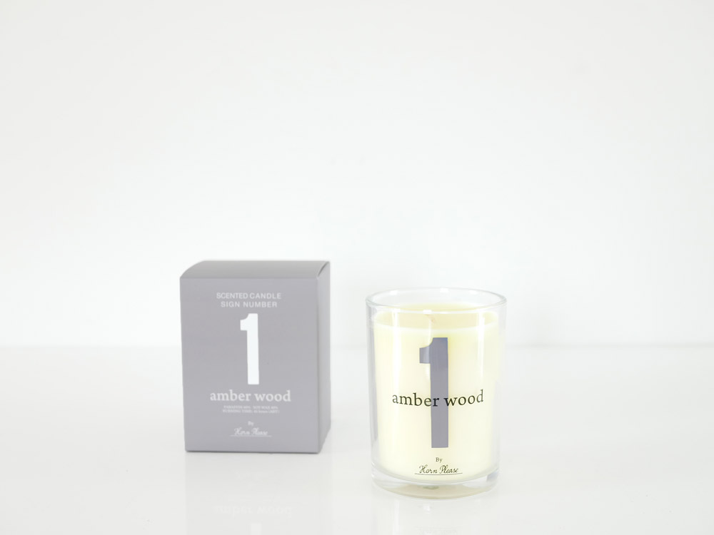 【Horn Please】SCENTED CANDLE サインナンバー グレー/AMBER WOOD