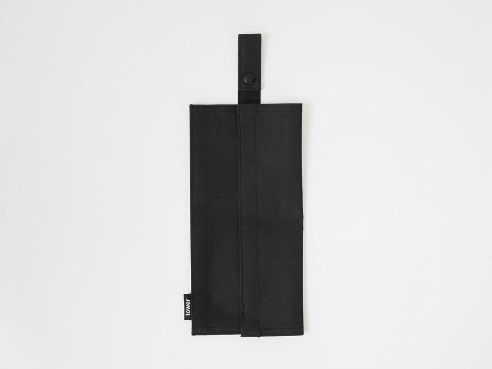 【tower】たためる携帯ティッシュケース ブラック