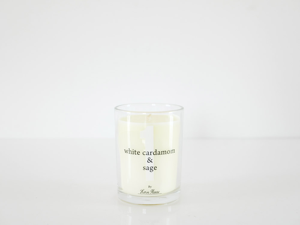 【Horn Please】SCENTED CANDLE サインナンバー ホワイト/WHITE CARDAMOM&SAGE