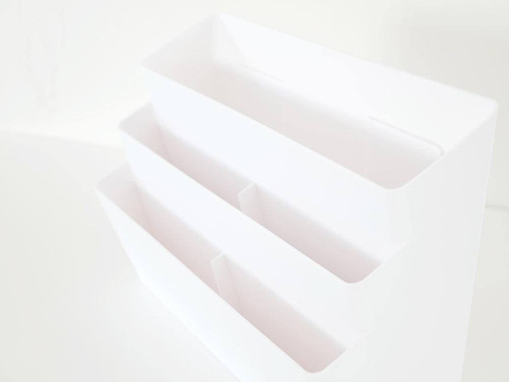 【tower】冷蔵庫横マグネット収納ポケット 3段 ホワイト