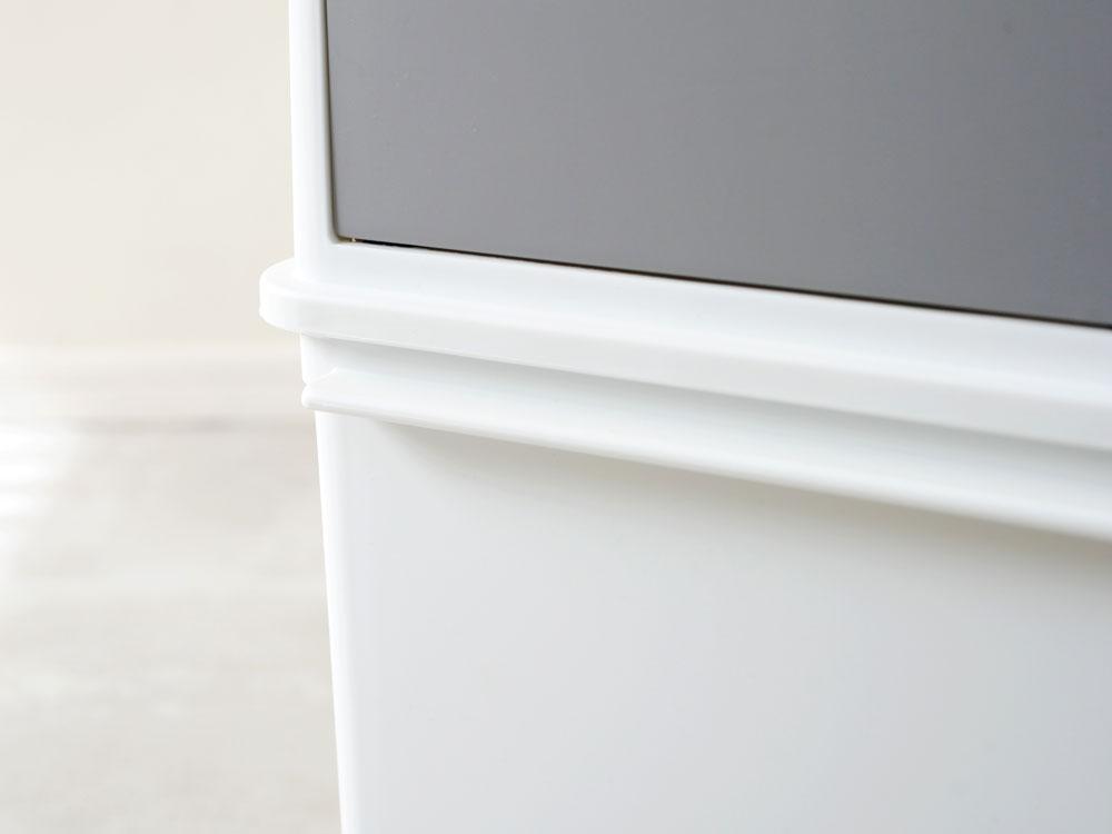 【like-it】 フロントオープントラッシュビン 25L スリム/ホワイト