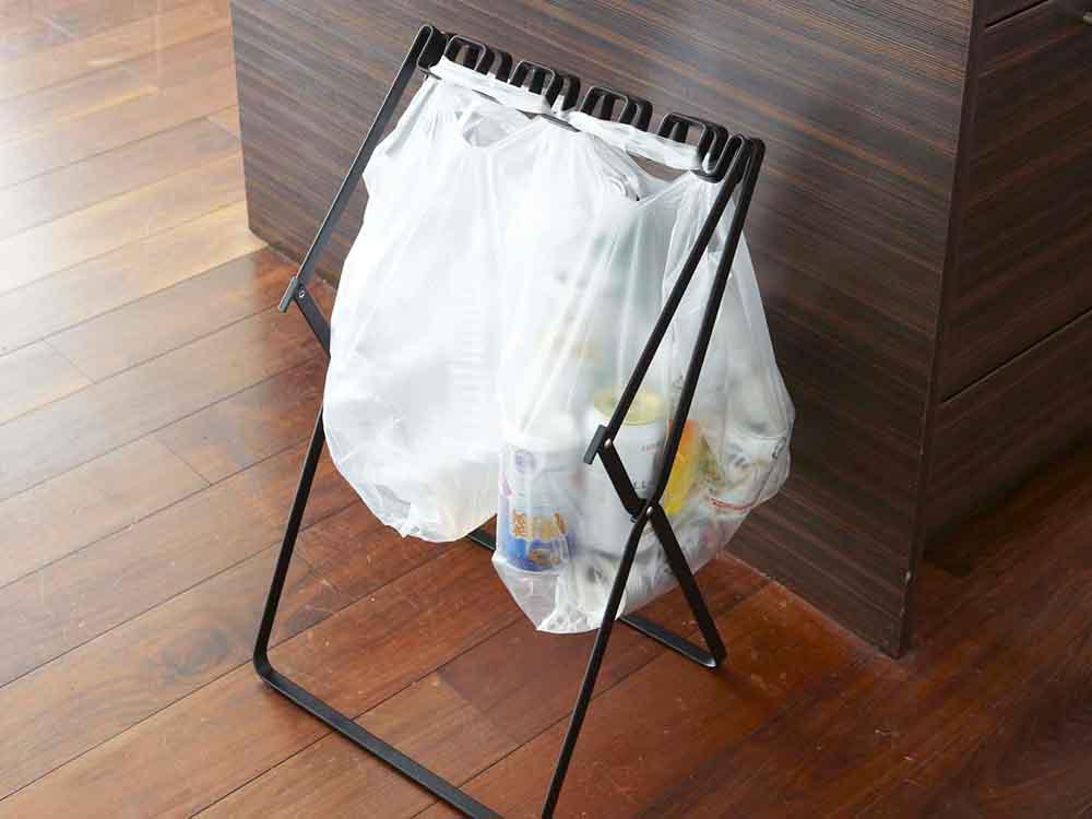 【tower】ゴミ袋&レジ袋スタンド ブラック