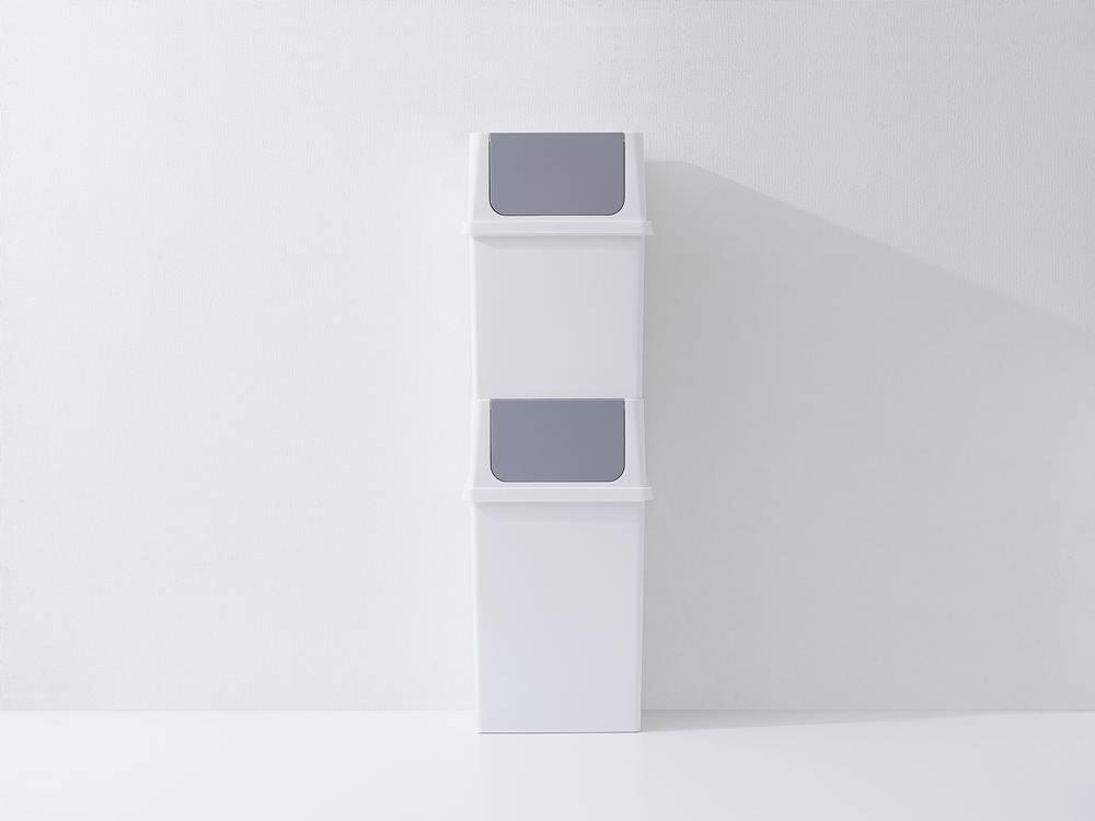 【like-it】フロントオープントラッシュビン17L ワイド/ホワイト