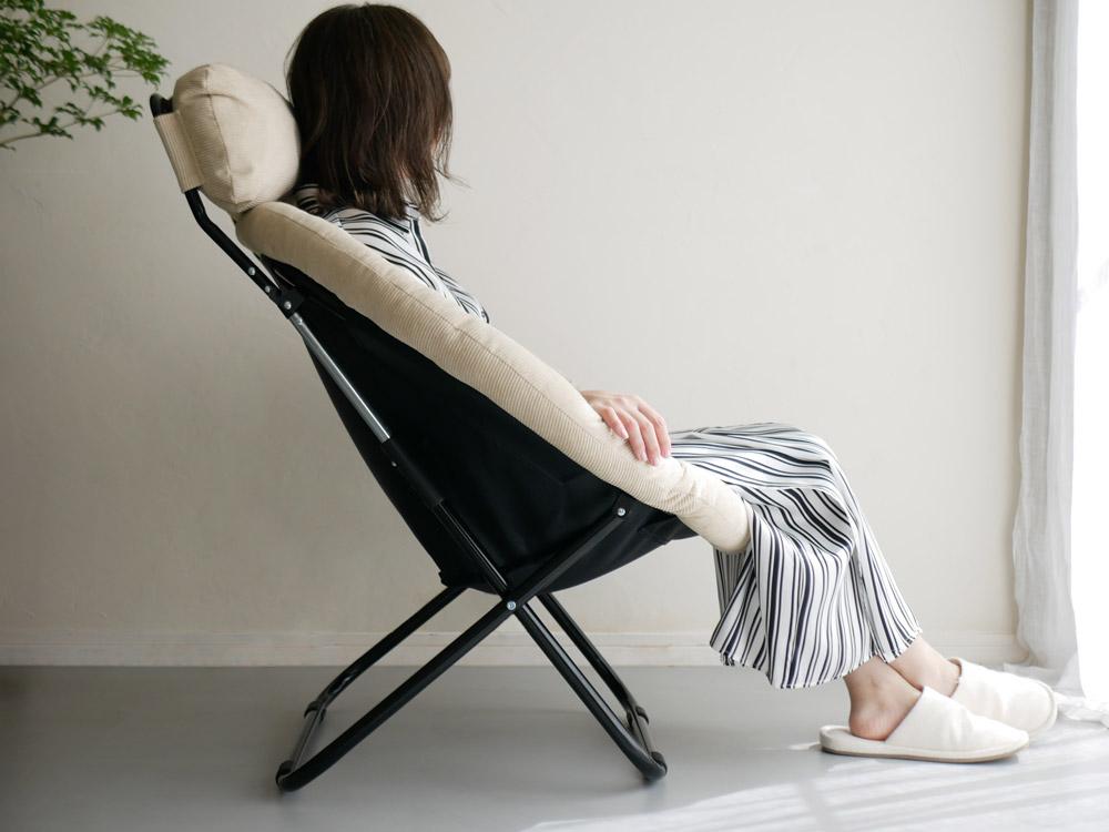 【Hinata Life】 2way フォールディングチェア ベージュ