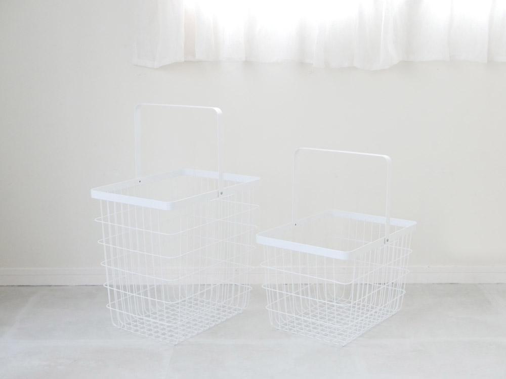 【tower】ランドリーワゴン+バスケット ホワイト
