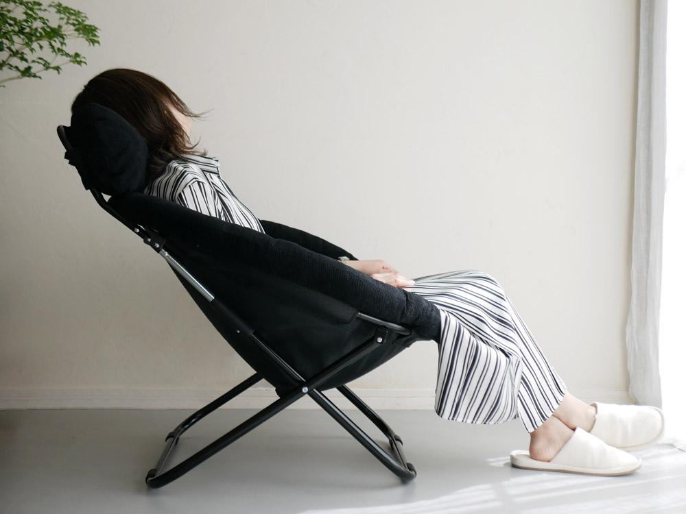 【Hinata Life】 2way フォールディングチェア チャコールブラック