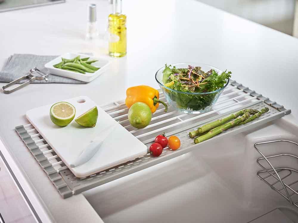 【Plate】折り畳み水切り シリコーントレー付き L ホワイト