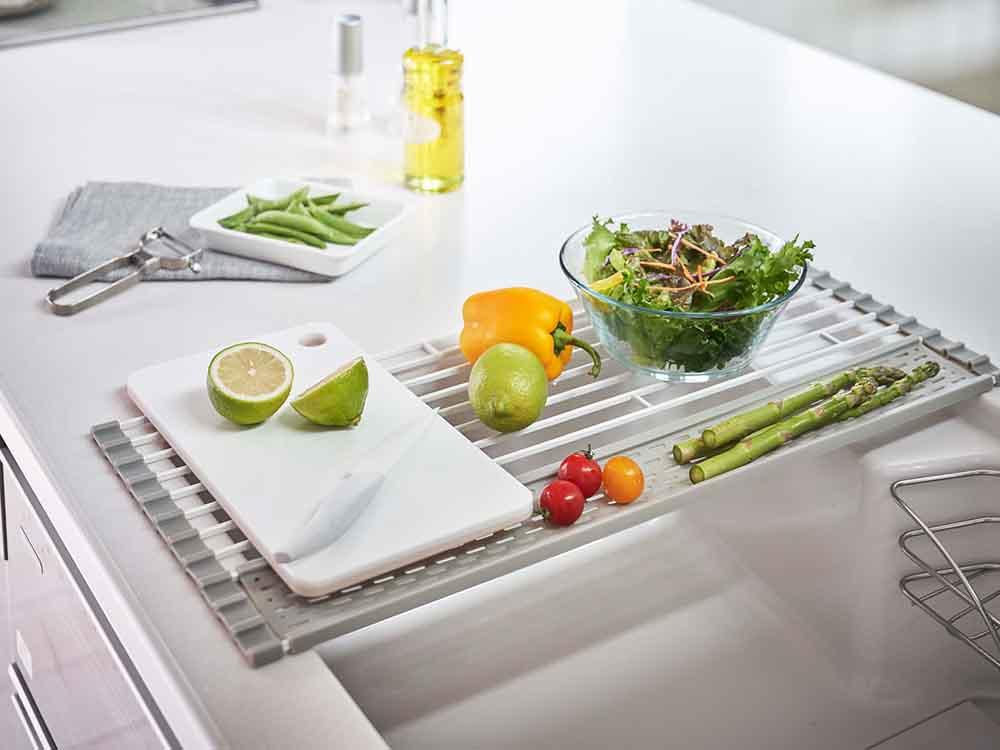 【Plate】折り畳み水切り シリコーントレー付き S ホワイト