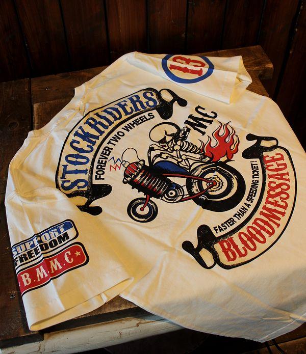 エフ商会 BLOOD MESSAGE ブラッドメッセージ BLST-1160 STOCK RIDER コットンTシャツ オフホワイト
