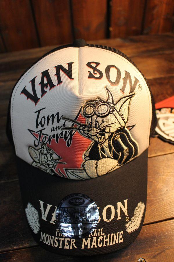 VANSON×Tom and Jerry トムとジェリーコラボ TJV-2016 ツイルメッシュキャップ ブラック/ナチュラル