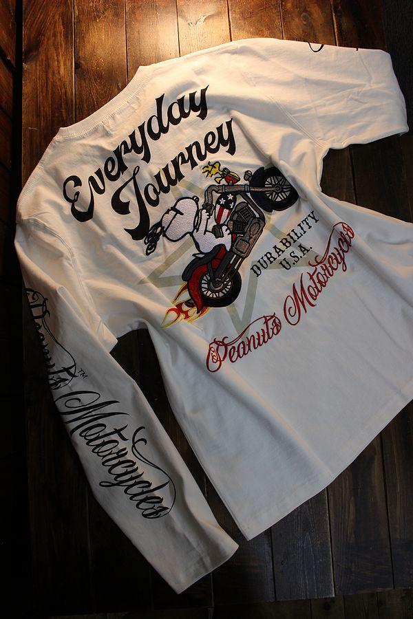 Snoopy スヌーピー 403950 刺繍 長袖Tシャツ バイク ホワイト