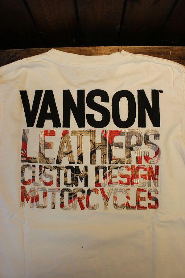 VANSON バンソン NVST-2119 Tシャツ スカル刺繍 Tシャツ オフホワイト