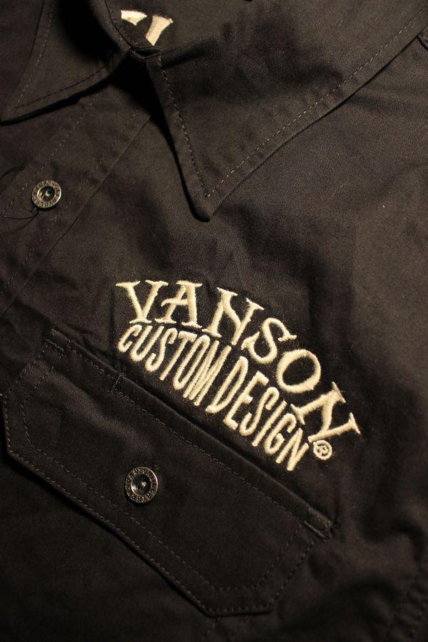 VANSON×Tom and Jerry トムとジェリーコラボ TJV-930 ワークシャツ ブラック