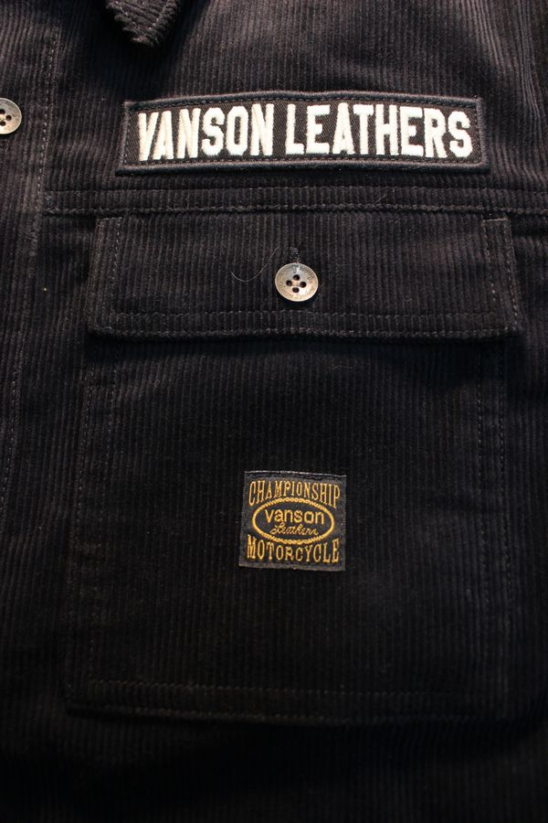 VANSON バンソン NVSL-2008 コーデュロイシャツ スカル 刺繍 ブラック