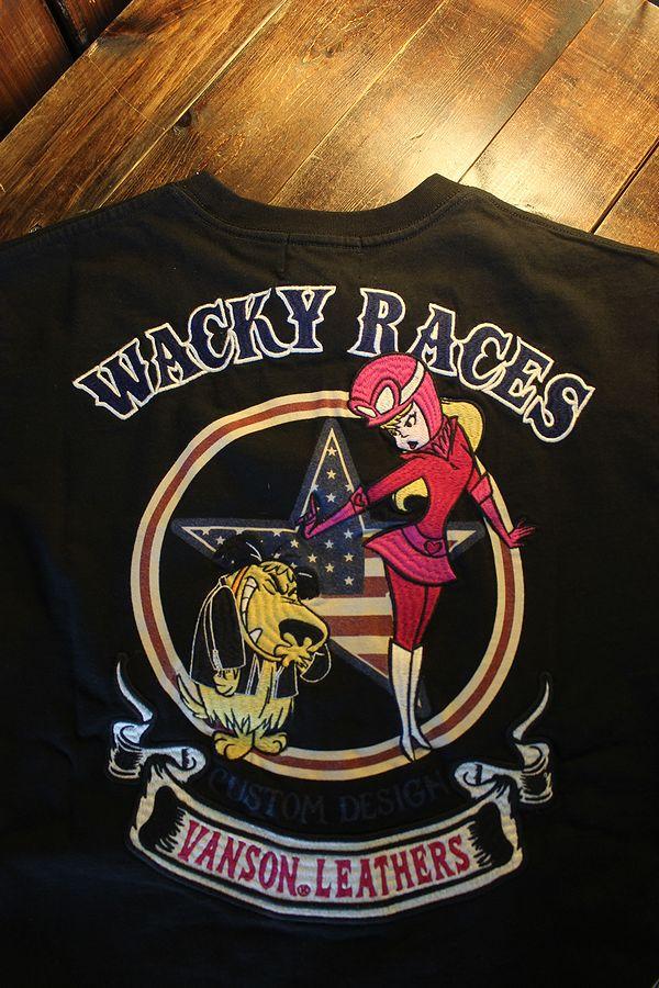 VANSON×Wacky Races チキチキマシーンモーレース ケンケン ミルクちゃん WRV-2103 天竺半袖Tee ブラック