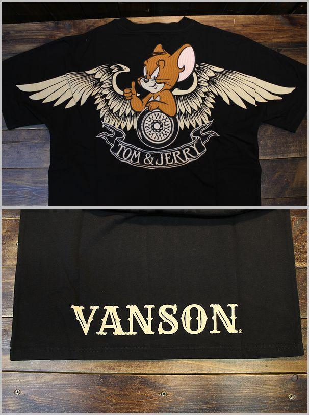 VANSON×Tom and Jerry トムとジェリーコラボ  TJV-2121 天竺半袖Tee ジェリーTシャツ ブラック