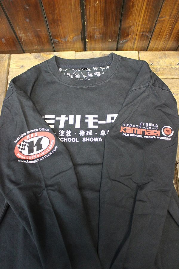 エフ商会 カミナリモータース 雷 KMLT-140 2代目コスモ 昭和  長T 長袖Tee ロンT ブラック