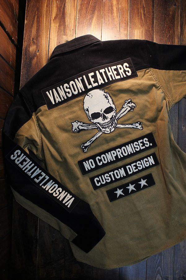 VANSON バンソン NVSL-2008 コーデュロイシャツ スカル 刺繍 キャメル