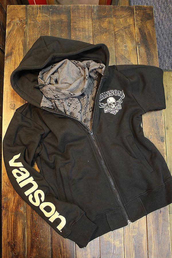 VANSON バンソン NVSZ-2108 スカル 裏毛ストール付きフロントZipパーカー ブラック