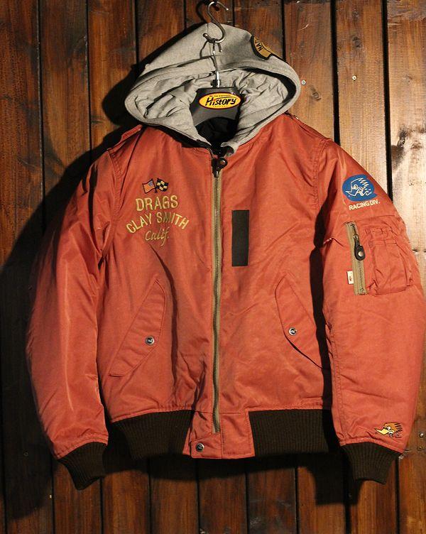 CLAY SMITH クレイスミス CSY-8323 CLASSIX 防寒 パーカーレイヤードスタイルMA-1 フライトジャケット レッド