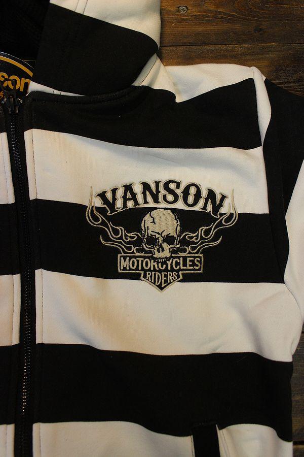 VANSON バンソン NVSZ-2108 スカル 裏毛ストール付きフロントZipパーカー ボーダー