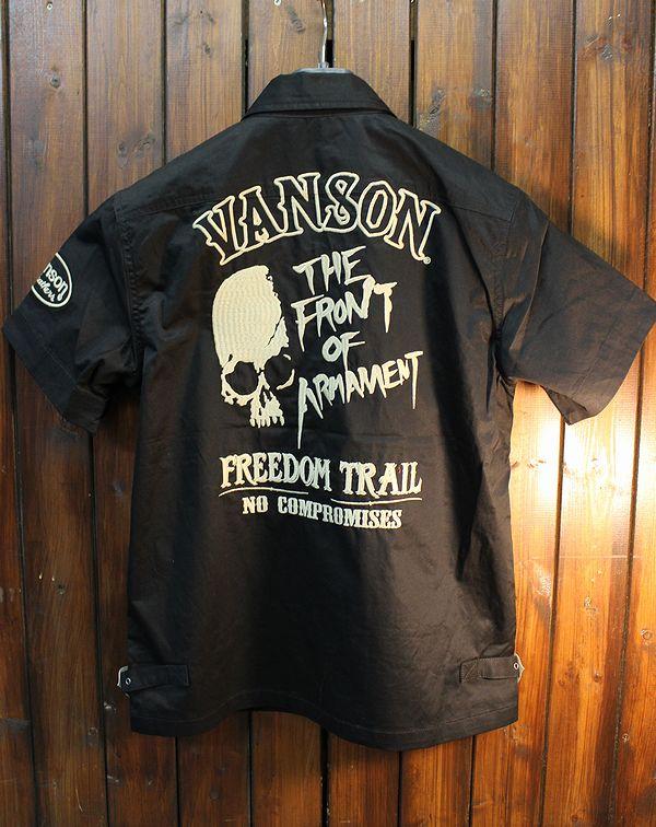 VANSON×クローズ×WORST 武装戦線 T.F.O.A CRV-820 半袖Zipシャツ スカル