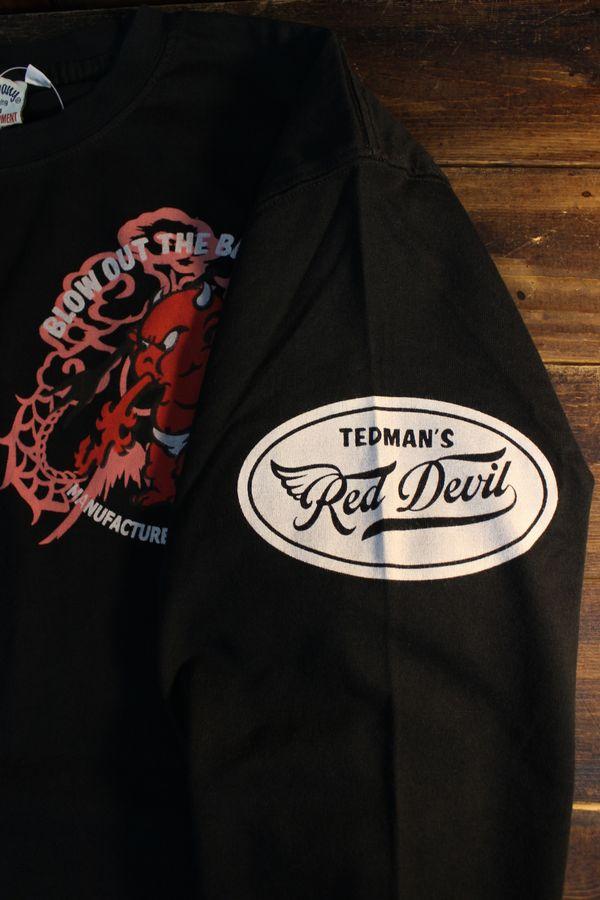 エフ商会 TEDMAN テッドマン TDLS-339 ドラゴン&テッドマン 和柄 長袖Tee ロンTee ブラック